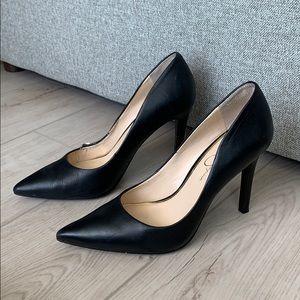 Black pointed toe high heels